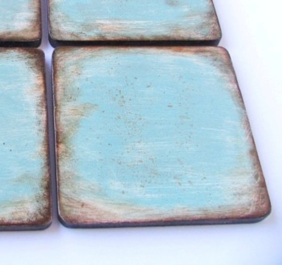 Coasters Wooden 6 Pieces Turquoise Brown Home Decor Kitchen Etsy