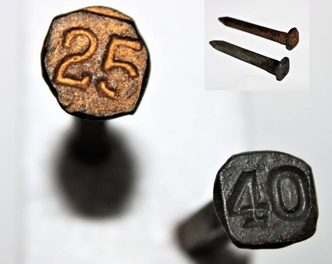 Two Vintage Square Shank Railroad Date Nails 1925, 1940