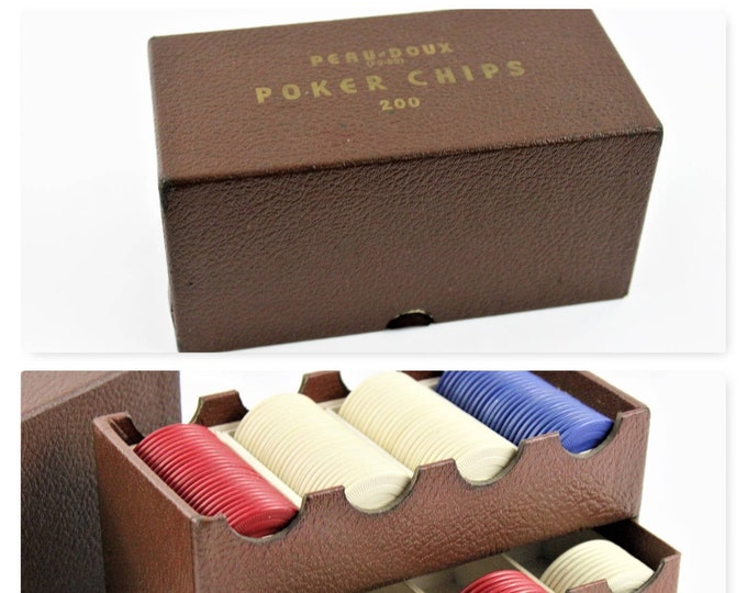 Peau Doux Clay Poker Chips and Caddy, Bull Dog Clay Poker Chips