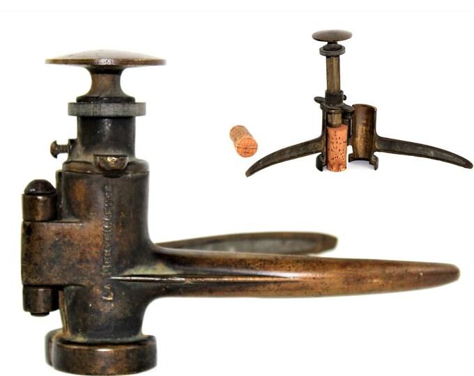 1920s French La Merveilleuse Solid Brass Corker / Cork Inserter, Wine Bottle Corker