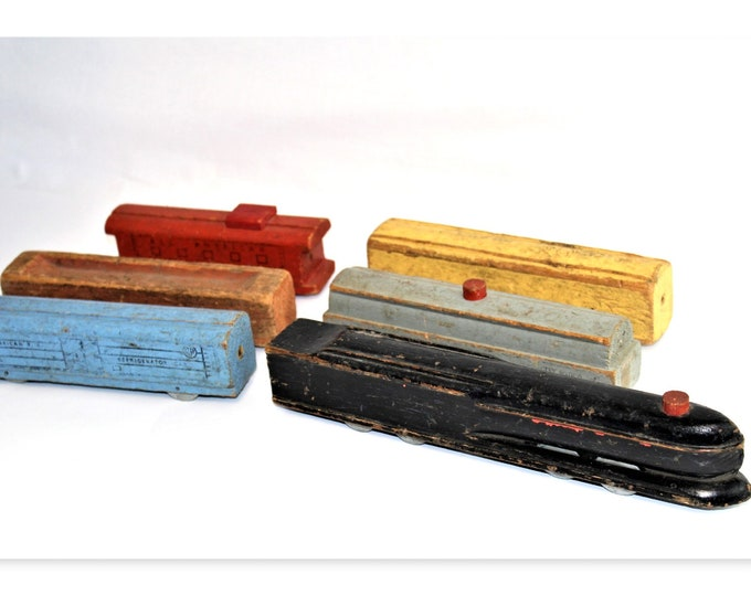 Vintage Railroad, 1940s The All American, Wood Toy, Steam Engine Toy Train, Train Set,  Pennsylvania Bullet Nose Locomotive