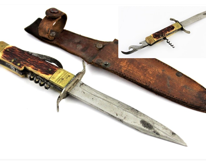 Vintage Fixed Blade Knife with Corkscrew and Bottle opener in Leather Sheath