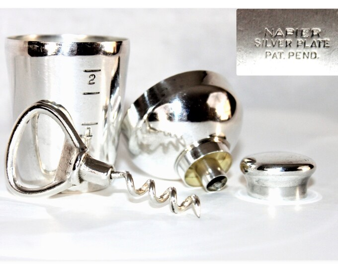 1920s Napier Silver Barware Travel Set, Corkscrew, Bottle Opener, Funnel, Shot Glass