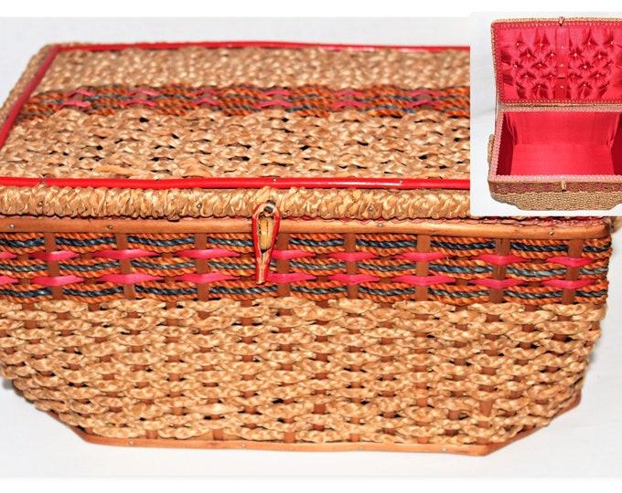 1940s West German Wicker and Wood Sewing Basket