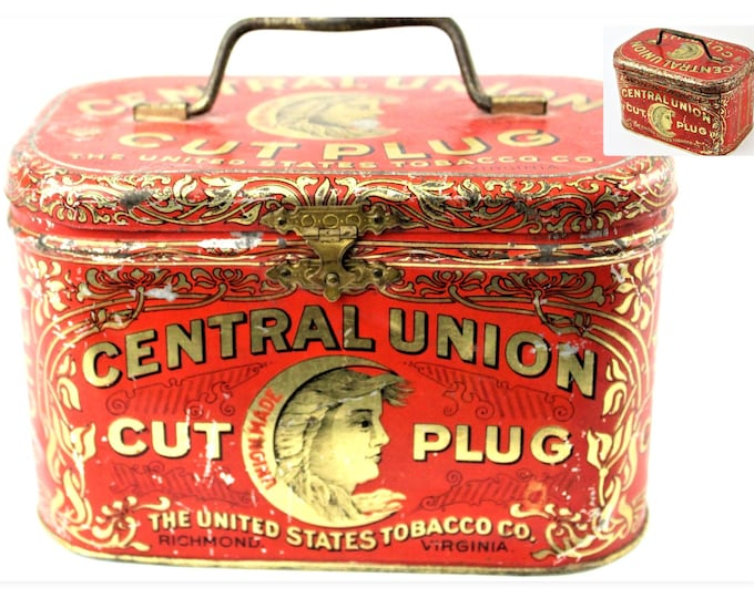 Vintage Central Union Cut Plug Tobacco Tin Pail