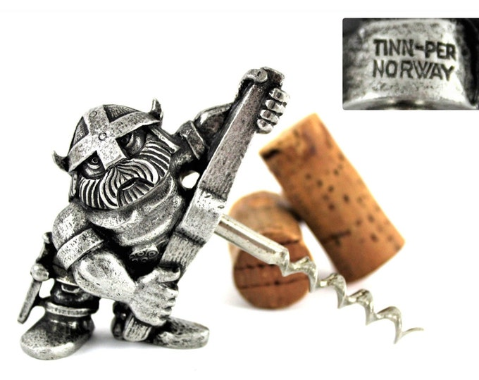 Vintage Corkscrew, NORGE the Viking Corkscrew, Pewter TINN-PER Norway