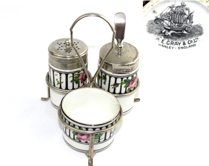 1919 Condiment Cruet Set made by A. E. Gray & Co. LTD Hanley England.