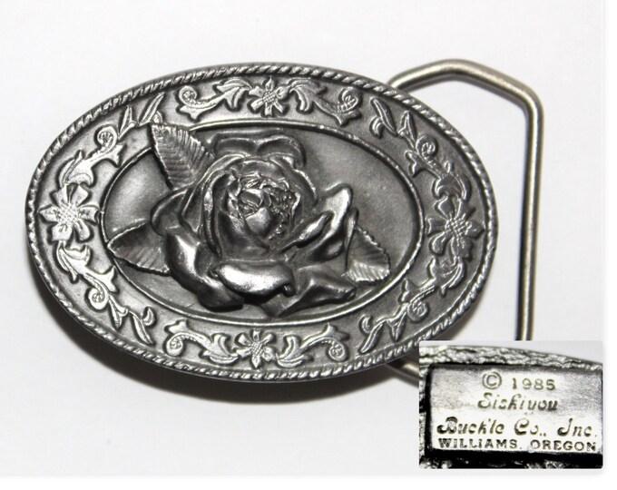 Vintage 1985 Siskiyou Belt Buckle Wild Rose