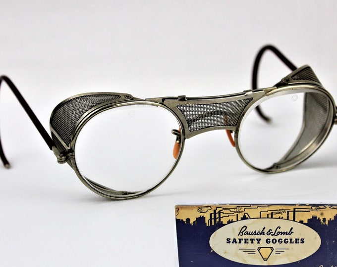 1944 Bausch & Lomb Clear Safety Goggles, Retro Motorcycle Goggles, MINT CONDITION