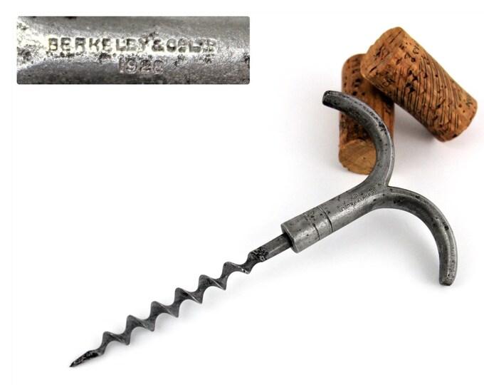 Antique Corkscrew / English Corkscrew / Berkeley & Co Ltd / Wine Bottle Opener / 1928