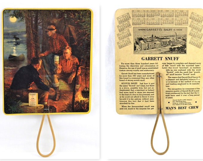 Tobacco Advertising / 1936 Garrett Snuff / Tobacco Advertising / Hand Fan with 1936-37 Calendar / Tobacco Memorabilia