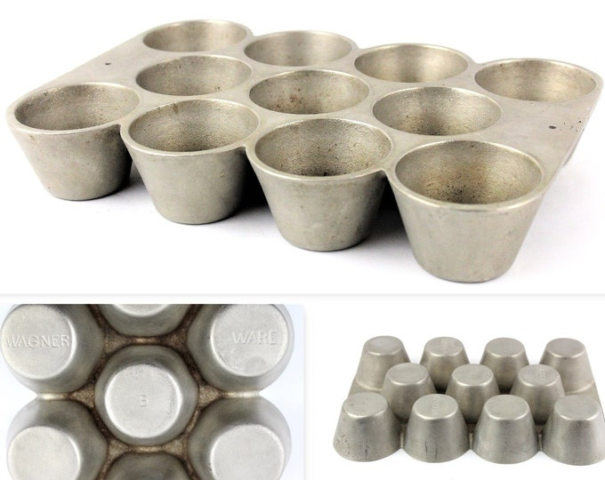 1920s Wagner Ware Cast Iron Popover / Muffin Pan #1323 B in a Silverlite Finish