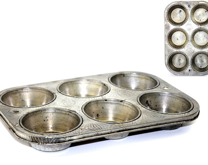 Vintage Kitchen Decor / Ovenex Muffin Pan Model N60-6 / Farmhouse Decor / Muffin Tin