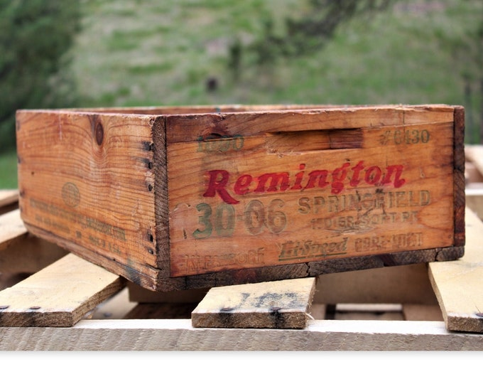Wood Shipping Crate /  Remington 30-06 Ammo / Wood Crate /  30-06 Springfield Rifle / Ammo Crate