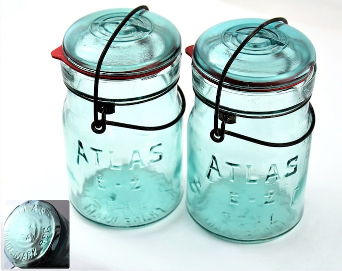 Antique Jars, Pair of Blue Atlas E-Z Seal, Canning Jars, Pint Sized Jars