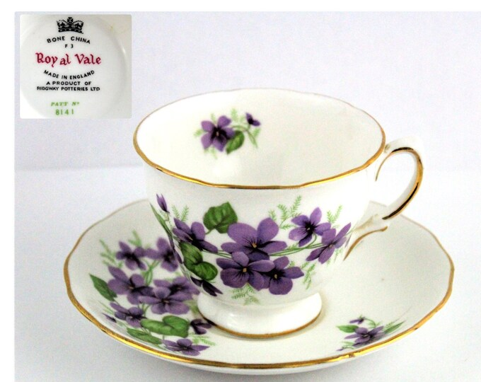 Fine Bone China Tea Cup and Saucer, Royal Vale England, Purple Violets