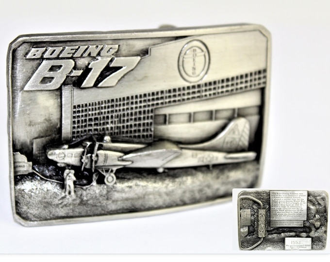 Vintage Belt Buckles / 1985 Siskiyou Belt Buckle / Boeing B-17 Bomber / Commemorative Buckle