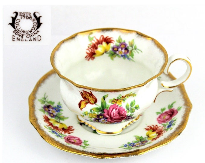 Bone China Tea Cup and Saucer,  Made by Collingwoods Bros.  Longton, England 1930s