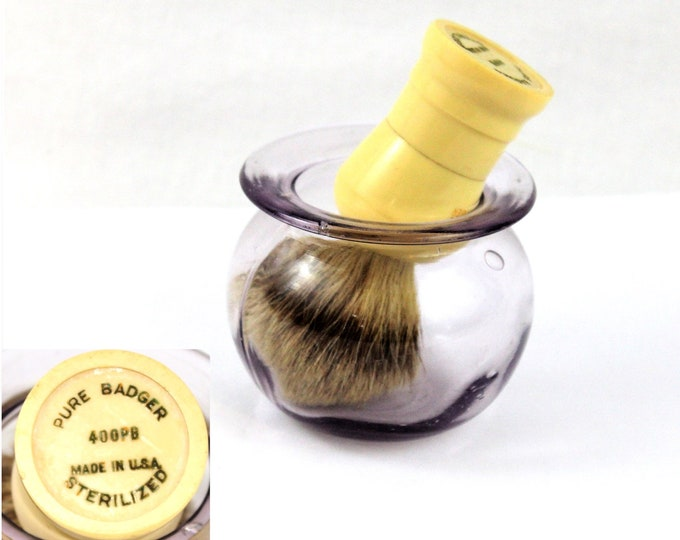 Vintage Barber Items / Shaving Brush & Cup / Straight Razor Shaving / Purple Sun Glass