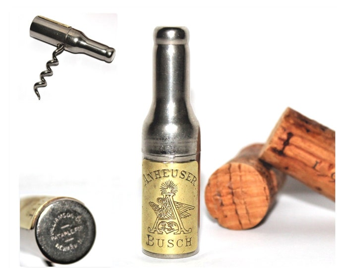 Antique Corkscrew / Anheuser Busch / Bottle Shaped Corkscrew / Antique Breweriana