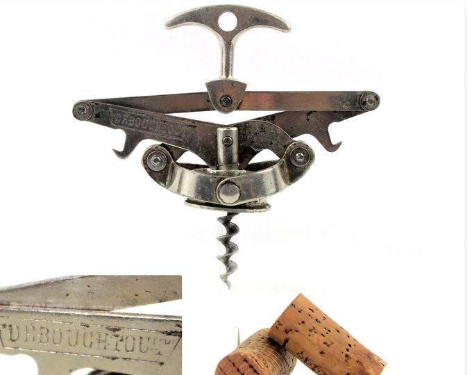 Vintage Corkscrew French Debouchtout, Concertina Corkscrew, 1930s, Wine Bottle Opener