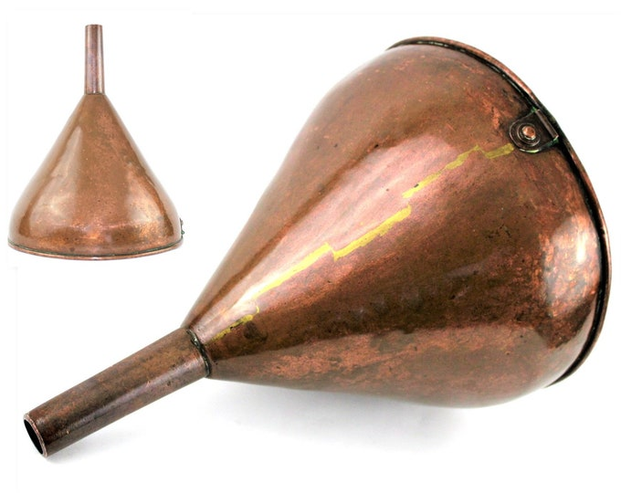 Antique Funnel / Large Copper Funnel / Winery Funnel