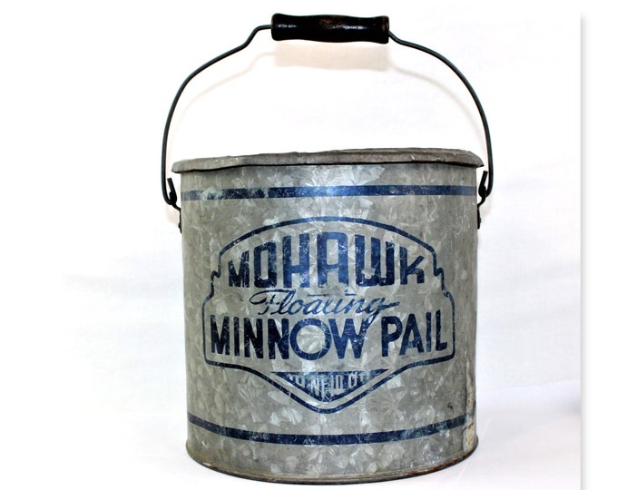 Fishing Collectibles / Mohawk Minnow Pail / Fishing Bucket / Resort Decor