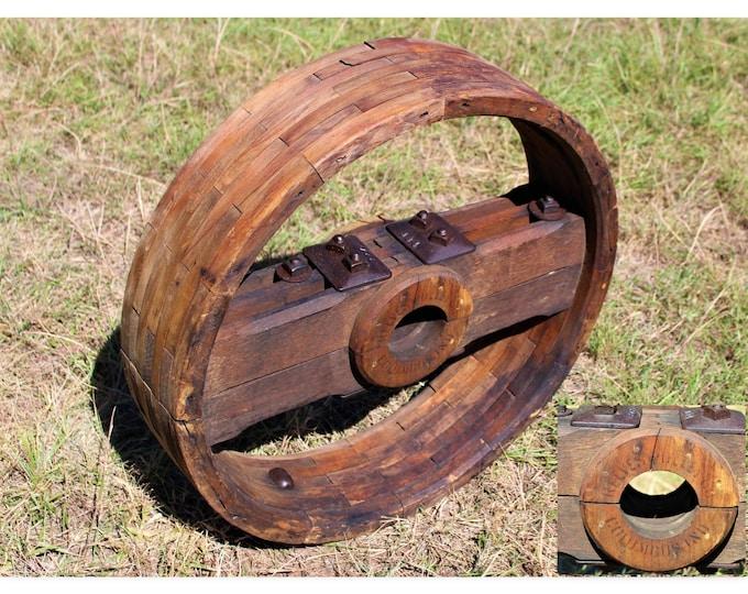 """Antique 26"""" Reeves Wood Split Pulley Wheel, Flat Belt Pulley"""