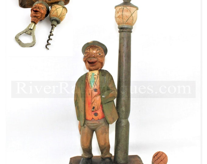 1950s Hand Carved & Hand Painted Anri Wood Figural Barware Set, Corkscrew, Bottle Opener