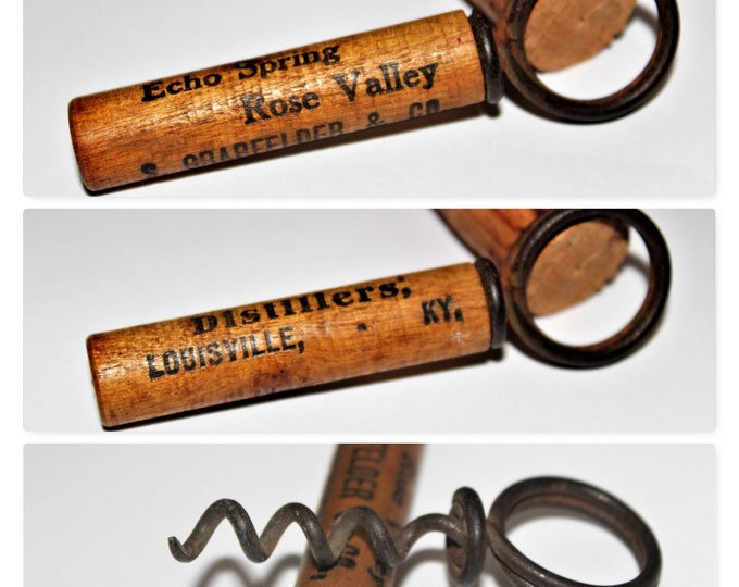 Antique Corkscrew, 1920s William Rockwell Clough Pocket Style Corkscrew, Advertising Corkscrew, Distillers Louisville, KY.