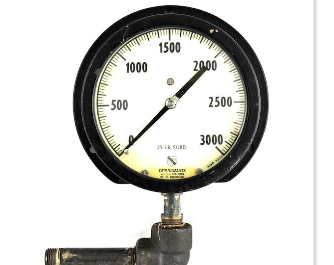 Vintage Pressure Gauge, Ashcroft USA, Duragauge 3000 PSI, Industrial Pressure Gauge