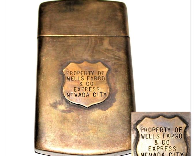 Vintage Wells Fargo Brass Pocket Map Case, Match Safe