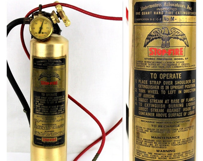 Antique Brass Stop–Fire Fire Extinguisher