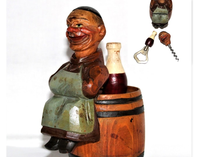 1950s ANRI  Hand Carved in Italy Barware Set, The Happy Monk Corkscrew and Bottle Opener
