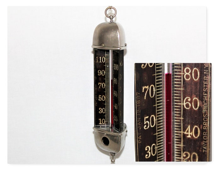 1887 Taylor Three Sided Radial Scale Thermometer, Indoor Thermometer