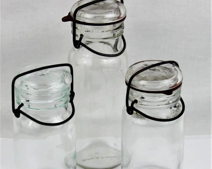 Vintage Clear Glass Storage Bottles with Glass Lids and Wire Bails Wheaton & Kimble, Canister jars