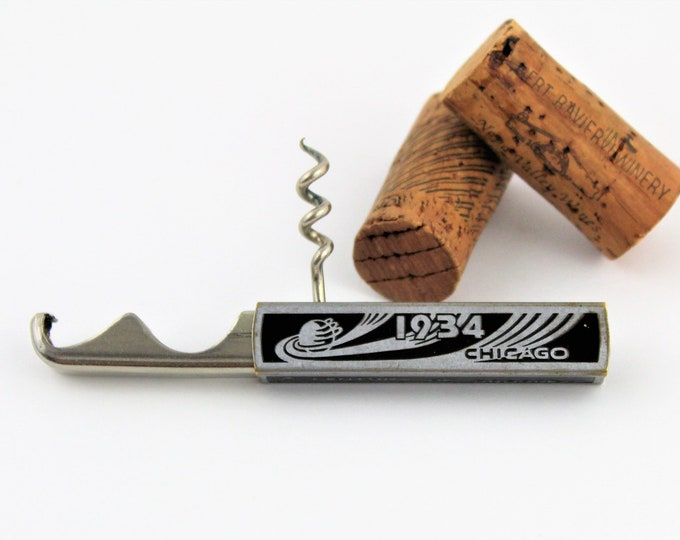 Vintage Corkscrew, 1934 Chicago World Fair Slide Out Bottle Opener with Corkscrew, Wine Opener