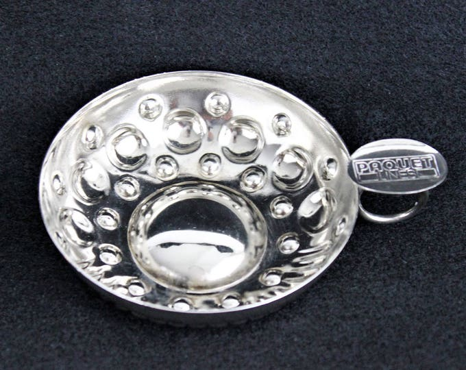 Vintage Silver Plated Sommelier Tasting Cup / Tastevin Cup, French Paquet Lines