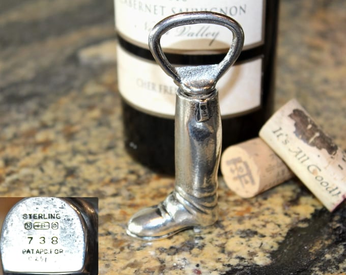 1920s Sterling Silver Riding Boot Opener with Hidden Corkscrew, Wine Bottle Opener