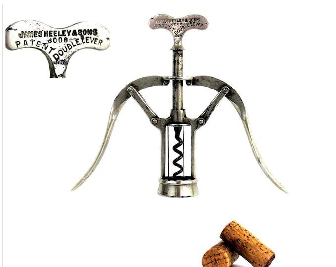 Antique 1880s James Heeley & Sons, Patent 6006  Double Lever Corkscrew, Wine Bottle Opener