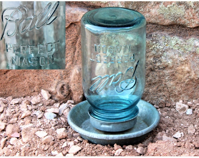 Galvanized Feeder with Ball Mason Jar, Watering Pan, 1940s Poultry Feeder, Antique Farm