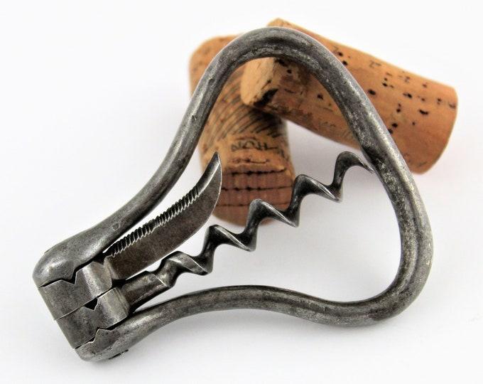 Antique Folding Bow Corkscrew with Foil Cutter