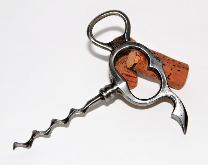 Antique English Four Finger Pull Corkscrew with a Cap lifter and Foil Cutter and Speedworm
