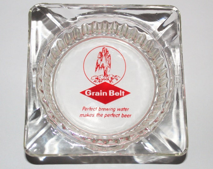 Vintage Barware / Grain Belt Ashtray / Mid Century Barware / Grain Belt Beer