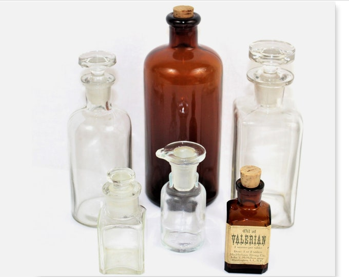 Antique Apothecary Bottles, Collection of Six Apothecary Bottles