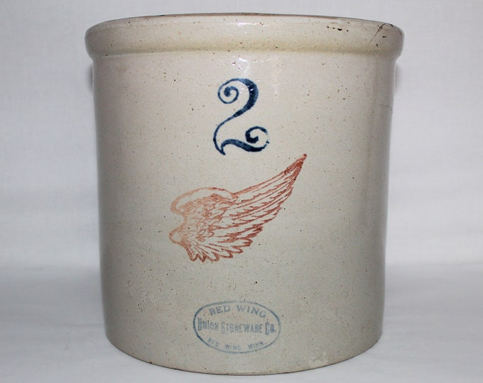 "Antique Red Wing Union Stoneware Company Two Gallon Crock 4"" Red Wing Pottery Logo"