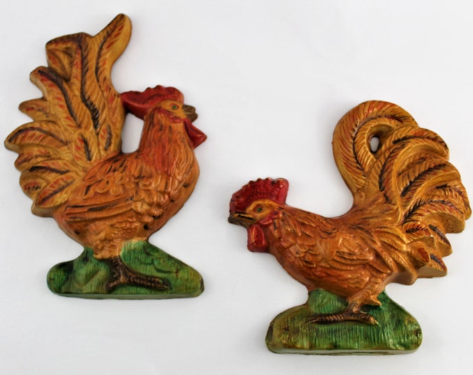 Vintage Chalkware Roosters / Chicken Wall Hangings / Farmhouse Decor