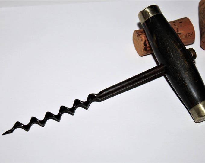Antique Corkscrew, Silver Horn Handle Corkscrew, Wine Opener