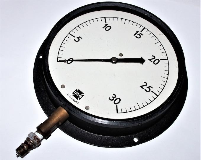 Vintage Pressure Gauge / US Gauge Company / Large Pressure Gauge / Industrial Wall Decor