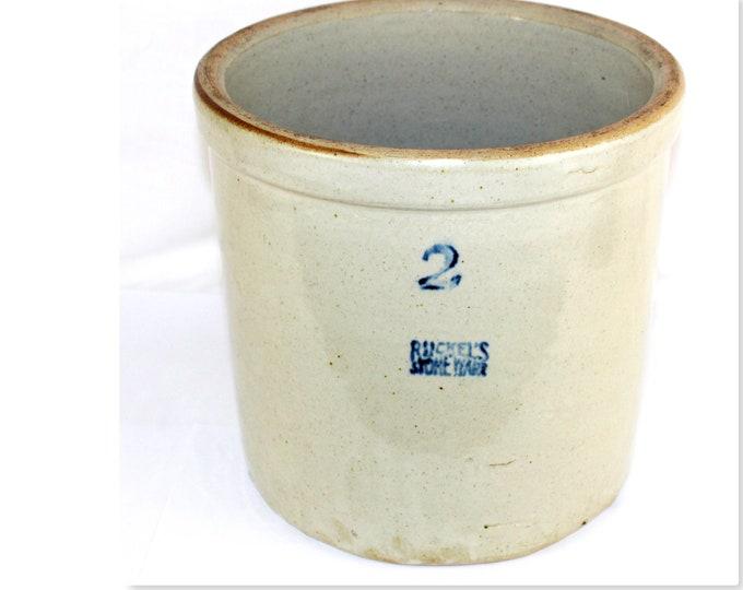 1930s Ruckel's Stoneware 2 Gallon Crock, Pickling Crock, Fermenting Crock
